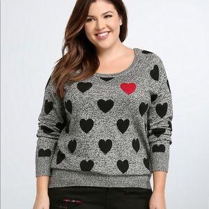Torrid Heart Print Raglan Sweater